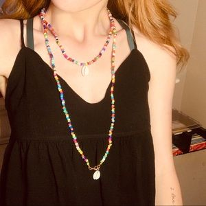 beaded puka shell necklace set of two